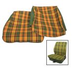 Plaid Front Seat Upholstery - Green/Orange/Yellow