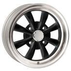 Wolfrace 8 Spoke Alloy Wheel 5.5 X 15 Matt Black Polished